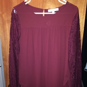 **NWT** Loft blouse with lace sleeves - maroon (S)
